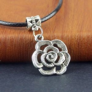 Tibetan Silver Rose Pendant and Necklace